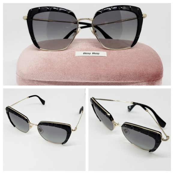 d756211e1923 Miu Miu Sunglasses Cat Eye Black   gold